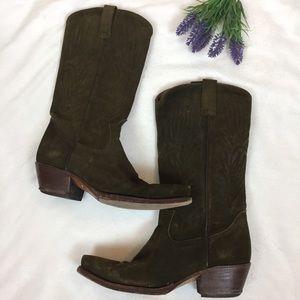 BUFFALO Moss Green Suede Cowboy Boots